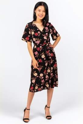francesca's Camdyn Floral Wrap Midi Dress - Black