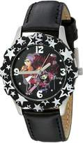 Disney Kids' W000433 Tween Candace and Isabella Stainless Steel Black Bezel Black Leather Strap Watch