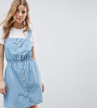 Miss Selfridge pinafore dress in chambray with shirred waist-Blue