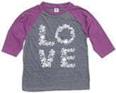 Urban Smalls Heather Gray & Purple Floral 'Love' Raglan Tee - Toddler & Girls