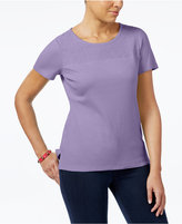 Karen Scott Cotton Lace-Yoke T-Shirt, Created for Macy's