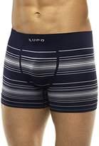 Lupo Men's Striped Seamless Microfiber Boxer Brief Underwear