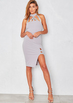 Missy Empire Alisa Grey Choker Harness Thigh Split Bodycon Dress
