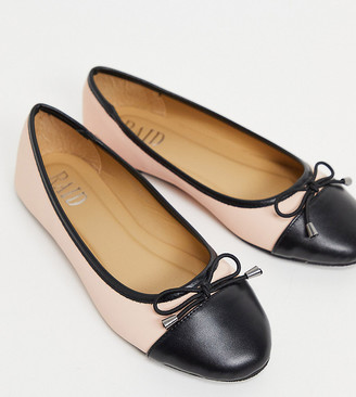 Raid Wide Fit Exclusive Dazer ballerina flats with contrast toe in blush
