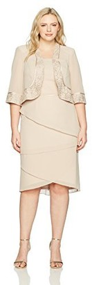 Le Bos Women's Size Embroided Asymmetrical Tier Jacket Dress Plus