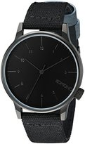 Komono Unisex KOM-W2121 Winston Heritage Series Black Stainless Steel Watch with Black and Blue Band