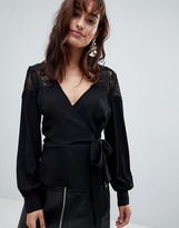 Outrageous Fortune Ruffle Detail Lace Insert Wrap Blouse