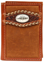 Ariat Light Brown Stitched Tooled Leather Wallet