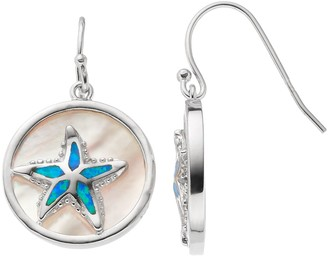 Sterling Silver Mother-of-Pearl & Lab-Created Blue Opal Starfish Disc Drop Earrings