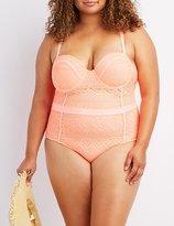 Charlotte Russe Plus Size Crochet One-Piece Swimsuit