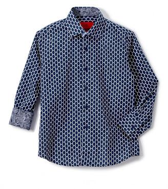 Elie Balleh Boys' Button Down Shirts NAVY - Navy Lattice Roll-Tab Sleeve Button-Up - Toddler & Boys