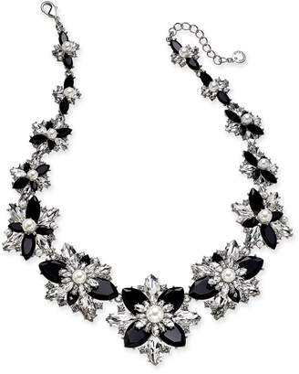 "Charter Club Silver-Tone Crystal, Stone & Imitation Pearl Cluster Statement Necklace, 18"" + 2"" extender"