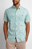 Faherty Short Sleeve Button Down Coast Shirt Wave Print