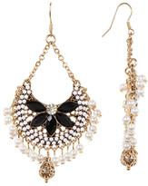 Natasha Accessories Open Work Stone & Faux Pearl Drop Earrings