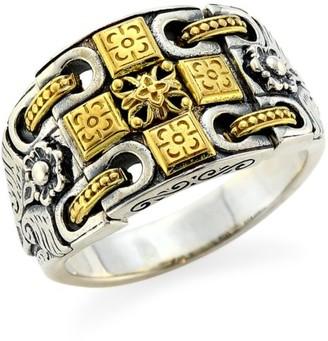 Konstantino Kleos 18K Yellow Gold Sterling Silver Cross Ring
