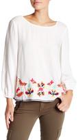 Lovers + Friends Cabana Long Sleeve Embroidered Blouse