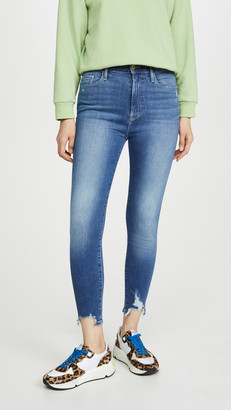 Frame Ali High Rise Cigarette Jeans with Chewed Hem