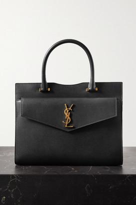 Saint Laurent Uptown East West Medium Textured-leather Tote - Black