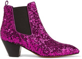 Marc Jacobs Kim Sequined Leather Chelsea Boots - Magenta