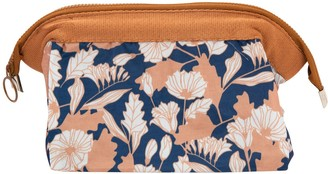 Flo Fashion Cosmetic Bag Beige Blue Flower