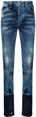 Philipp Plein Gradient Effect Distressed Jeans