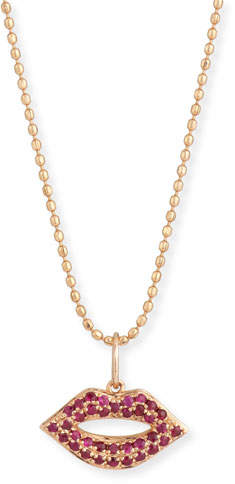Sydney Evan 14k Gold Ruby Lips Pendant Necklace, Small