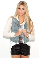 Jet by John Eshaya Jet Vintage Jean Jacket with Sweater Sleeves in Bone