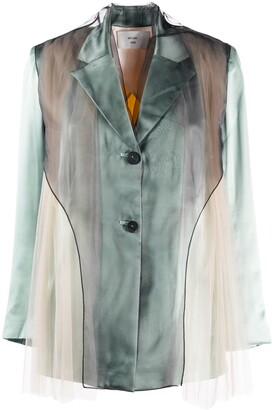 Quetsche Long Sleeve Sheer Panelled Jacket