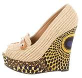 Burberry Woven Wedge Pumps