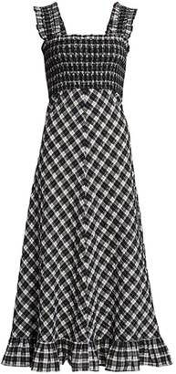 Ganni Seersucker Checked Maxi Dress