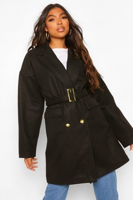 boohoo Tall Military Detail Belted Wool Look Coat