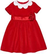 Florence Eiseman Twill Velvet Dress w/ Scalloped Collar, Size 2-6X