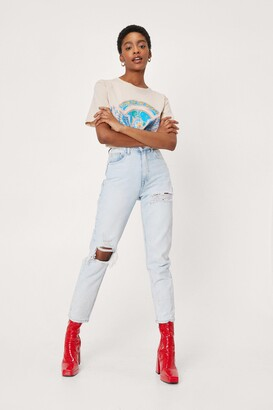 Nasty Gal Womens Rip's Time for a Change Distressed Mom Jeans - Blue