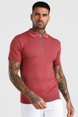boohoo Mens Pink Textured Short Sleeve Zip Polo, Pink