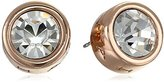 T Tahari Rose Gold Signature Stud Earrings with Crystal