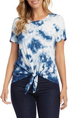 Karen Kane Tie Dye Tie Front Jersey Top