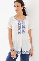J. Jill Embroidered Crinkled Top