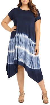 Karen Kane Plus Tie-Dyed Handkerchief Hem Dress