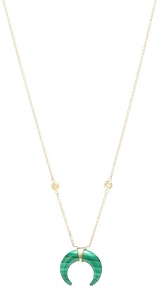 Jacquie Aiche Double Horn 14kt gold and malachite necklace