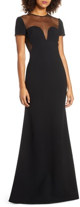 Jill by Jill Stuart Dotted Mesh Gown & Stretch Crepe Trumpet Gown