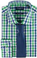 Nick Graham Men's Modern-Fit Patterned Easy-Care Spread-Collar Dress Shirt & Tie Set