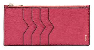 Valextra Contrast-edge Grained-leather Coin Purse - Womens - Pink