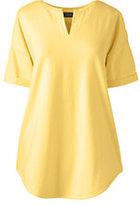 Lands' End Women's V-neck Tunic Top-Pale Lemon