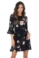 AX Paris Black Floral Frill Throw On Dress