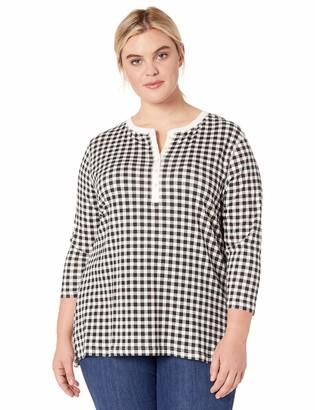 Chaps Women's Plus Size 3/4 Sleeve Crewneck Henley Shirt