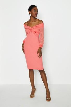 Coast Sheer Sleeve Ponte Twist Bardot Dress