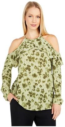 MICHAEL Michael Kors Poppy Ikat Cold-Shoulder Top (Light Sage) Women's Clothing