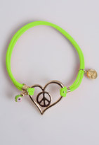 iLuck Neon Bracelet with Heart/Peace in Neon Red