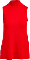Colour Works by In Cashmere Women's Pullover Sweaters RED - Red Mock Neck Sleeveless Top - Women
