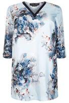 Marina Rinaldi Floral Silk V-Neck Top